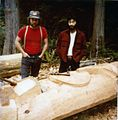 Totem pole carvers Jim Bender and Mike Watanabe, 1982 (25379083064).jpg