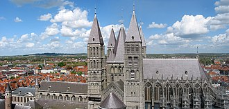Tournai Cathedral - View of the five Romanesque towers of the cathedral of Tournai (12th century)