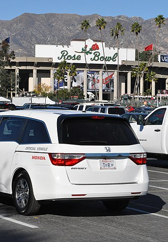 2012 Rose Bowl - A Honda vehicle parked at the south entrance used by the Tournament of Roses Association during the 2012 Rose Bowl game