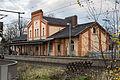 Train station building Sarstedt rail tracks side Sarstedt Hildesheim Germany.jpg