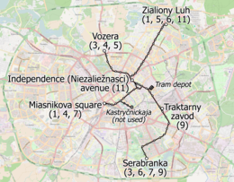 Tram map of Minsk (Belarus), November 2018, in English.png