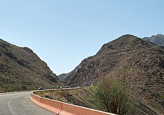 Texas State Highway Loop 375 - The largest road cut on Transmountain Drive, at the mile-high crest of Smuggler's Pass