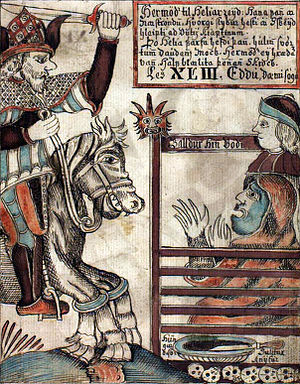 Sleipnir - An 18th century Prose Edda manuscript illustration featuring Hermóðr upon Sleipnir (left), Baldr (upper right), and Hel (lower right).