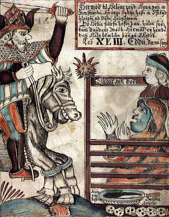 Hermóðr - Hermóðr rides to Hel on Sleipnir. He meets Hel and Baldr. From the 18th century Icelandic manuscript NKS 1867 4to.