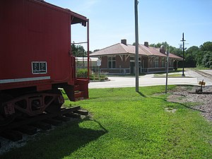 """Independence station - The """"Historic Truman Depot"""" located in central Independence, Missouri. The Red Caboose partially visible at left is a permanent part of the site."""