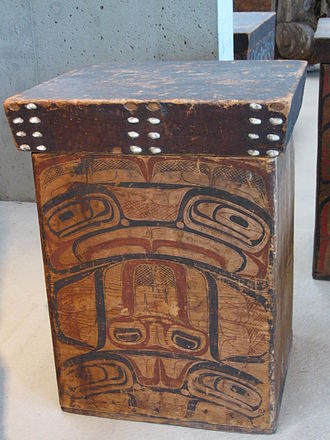 Tsimshian - Tsimshian bentwood box featuring formline painting, 1850, collection of the UBC Anthropology Museum