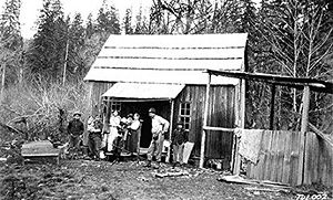 Tulalip - A Tulalip family in front of their home on the reservation in 1916.  Gabe Gobin worked as a logger.