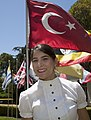 Turkish air force 1st Lt. Begum Ozcan poses for a photograph at the international flag garden on the Naval Postgraduate School campus in Monterey, Calif., May 31, 2013 130531-D-AE587-001.jpg