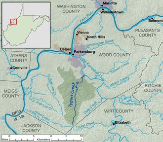 Tygart Creek - Image: Tygart Creek map