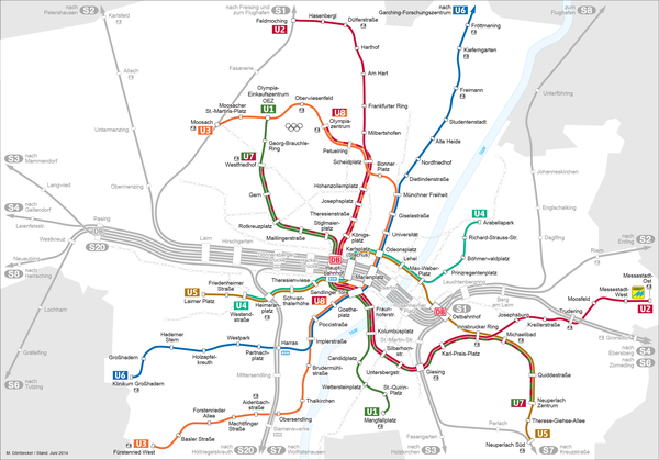 Topographical Munich U-Bahn network in 2010.