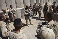 U.S. Marine Corps Staff Sgt. Jason Black, an infantry unit leader with Jump Platoon, 1st Battalion, 5th Marine Regiment, conducts a convoy brief at Patrol Base Jaker in Nawa district, Helmand province 090822-M-ZU432-111.jpg