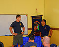 U.S. Navy Diver 2nd Class William Costa, left, with Mobile Diving and Salvage Unit 1, speaks to Indonesian Navy Lt. Thomas Fanulene during a subject matter expert exchange as part of Cooperation Afloat Readiness 130522-N-SO584-007.jpg