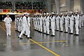 U.S. Navy Rear Adm. Mark L. Tidd, left, chief of Navy chaplains, inspects a drill platoon at the weekly pass in review graduation in the USS Midway Ceremonial Drill Hall with Recruit Training Command, aboard 120803-N-IK959-501.jpg