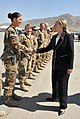 U.S. Secretary of State Hillary Rodham Clinton greets a U.S. Airman during a stop at Kabul International Airport, Afghanistan, July 7, 2012, while en route to Japan 120707-N-YZ252-065.jpg
