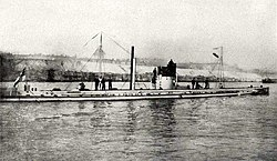 German submarine U9 (1910). She sank three English cruisers in a few minutes in September 1914.