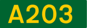 A203 road shield