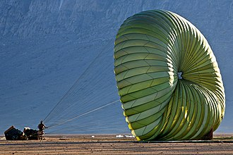 3rd Battalion, 8th Marines - A Marine from Company I, 3/8, holds onto a parachute attached to a supply of water and food dropped by CLB-3 Marines from a C-130 cargo transport aircraft during Operation Backstop in Helmand province, Afghanistan, December 11, 2008.