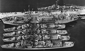 Fleet Rehabilitation and Modernization - Image: USS Bryce Canyon (AD 36) with destroyers at Terminal Island c 1962