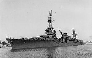 USS Chester (CA-27) - Image: USS Chester (CA 27) Mare Island Oct 1943