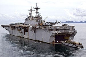 Wasp-class amphibious assault ship - USS Essex performing a stern gate mating with a landing craft