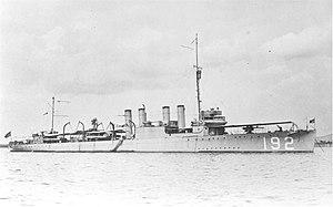 USS Graham (DD-192) at anchor in Guantanamo Bay, Cuba, circa 1920 (NH 53766)