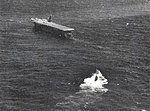 USS Guadalcanal (CVE-60) tows the captured German submarine U-505 in the Atlantic Ocean on 4 June 1944.jpg