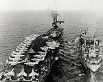 USS Poncatoula (AO-148) refuels USS Hancock (CVA-19) off Vietnam in December 1968.jpg