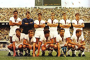 Angelo Domenghini - Domenghini (standing, third from the left) with the 1969–70 Italian champion Cagliari at San Siro