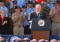 US Navy 060523-N-4021H-095 Vice President Dick Cheney addresses Sailors and Marines assigned to Expeditionary Strike Group One (ESG-1), on the flight deck aboard the amphibious assault ship USS Bonhomme Richard (LHD 6).jpg