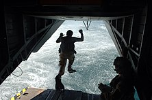 US Navy 071016-N-3931M-077 Servicemembers assigned to Explosive Ordnance Disposal Mobile Unit (EODMU) 8 and U.S. Air Force 82nd Pararescue Unit perform water rescue techniques during a routine training exercise off the coast of.jpg