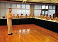 US Navy 090629-N-0491H-011 Master Chief Petty Officer of the Navy (MCPON) Rick West speaks with chiefs during a breakfast with local command master chiefs and senior enlisted leaders.jpg