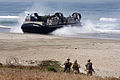 US Navy 100604-M-5053B-121 A landing craft air cushion (LCAC) assigned to Beach Master Unit (BMU) 1 navigates Red Beach at U.S. Marine Corps Base Camp Pendleton, Calif. during Dawn Blitz 10.jpg