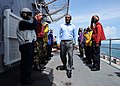 US Navy 101025-N-7680E-015 President of Guyana Bharat Jagdeo walks through the sideboys upon his arrival aboard the multi-purpose amphibious assaul.jpg
