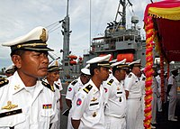 US Navy 111020-N-NJ145-032 Royal Cambodian Navy officers stand in ranks with U.S. Navy members during the opening ceremonies for Cooperation Afloat