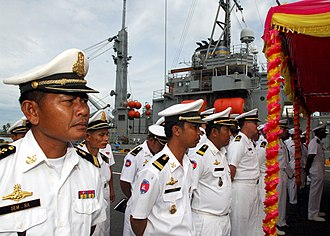 Royal Cambodian Navy - Cambodian Navy officers stand in ranks with US Navy members.