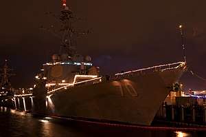US Navy 111220-N-WP746-003 The guided-missile destroyer USS Hopper (DDG 70) is decorated with Christmas lights at Joint Base Pearl Harbor-Hickam.jpg