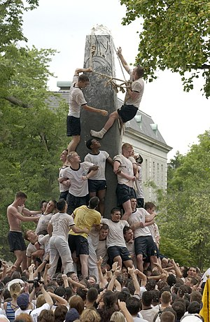 Herndon Monument -  The climbing of the monument by Fourth Class Midshipmen.