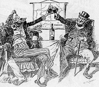 Venezuelan crisis of 1895 - An 1896 cartoon from an American newspaper, following Britain's agreement to go to arbitration.