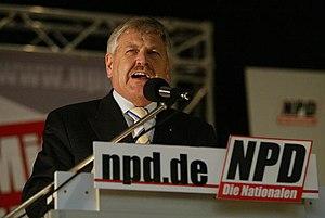 Parteivorsitzender Udo Voigt beim NPD-Bundespa...