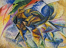 Umberto Boccioni, 1913, Dynamism of a Cyclist (Dinamismo di un ciclista), oil on canvas, 70 x 95 cm, Gianni Mattioli Collection, on long-term loan to the Peggy Guggenheim Collection, Venice.jpg