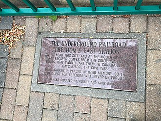 Lakewood, Ohio - Underground Railroad marker at Lakewood Park