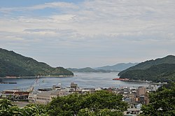 View of Uwajima Bay and downtown Uwajima from Uwajima Castle