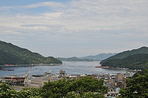Uwajima, Ehime - View of Uwajima Bay and downtown Uwajima from Uwajima Castle