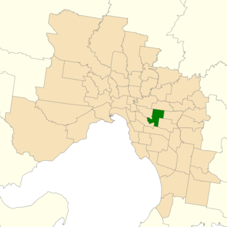 Electoral district of Burwood - Location of Burwood (dark green) in Greater Melbourne