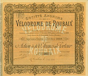 Paris–Roubaix - Share of the Société Anonyme du Vélodrome de Roubaix, issued 3 March 1899