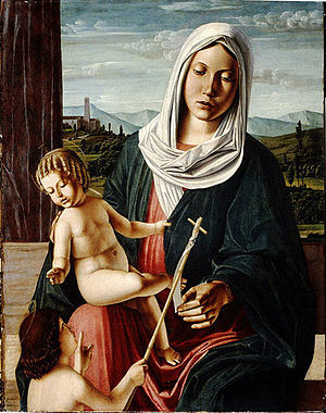 Michele da Verona - Madonna and Child with Infant Saint John the Baptist, probably late 1490s