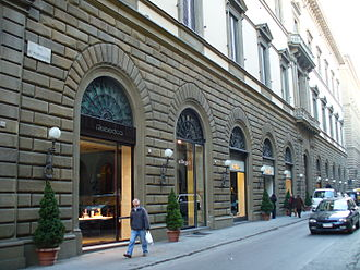 Italian fashion - Luxury boutiques along Florence's prestigious Via de' Tornabuoni.