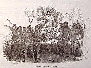 Los indios taínos agasajan a la reina Anacaona en un grabado de 1851 para la edición española de la obra Vida y viajes de Cristóbal Colón.