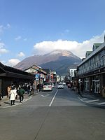 View of Mount Yufudake and Yufuin Onsen Street in front of Yufuin Station 2.jpg