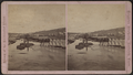 View of the centennial flood innudating the railroad bridge, by Laighton Brothers.png